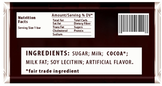 Example of Fair Trade Certified Label - Back Pannel