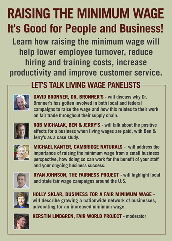 Expo West Living Wage Poster back