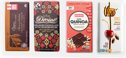 Fair Trade Chocolate Bars: Equal Exchange, Divine Chocolate, Alter Eco, Theo Chocolate