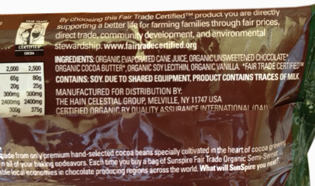 SunSpire 42% certified cacao - back label