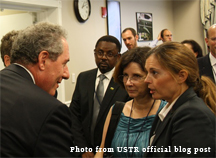 United States Trade Representative Michael Froman greets stakeholders (photo courtesy of USTR official blog post)