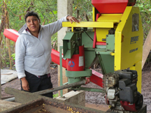 A fair trade coffee farmer discusses the processing she does before sending coffee up the supply chain
