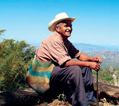 Farmer looks out over fields in mountain highlands of Central America