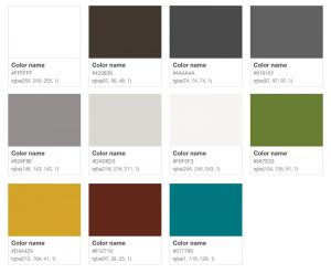 Style Guide colors rev 1.2