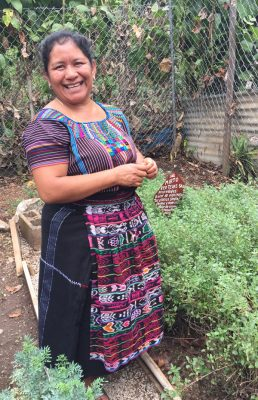 """Dorotea, a Mayan Woman shows off the herbal garden - Flor Juanera Coop"