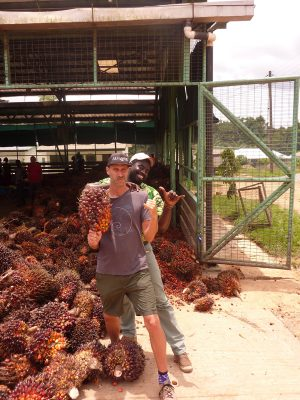 David Bronner and Olowondjo at Serendipalm in Ghana
