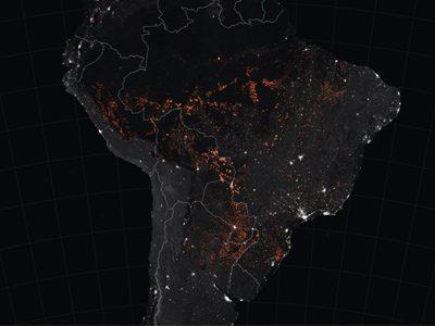 Amazon fire satellite image taken by MODIS.